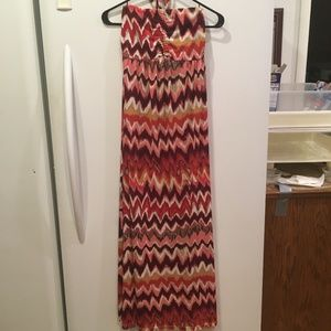 Cato Halter Tie A-Line Maxi Sun Dress zigzag SZ S